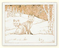 G500 Foxes Laser Engraved Card White Paper