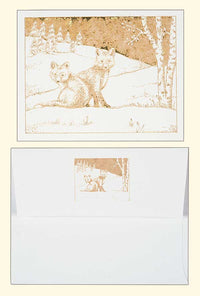 G500 Foxes Laser Engraved Greeting Card with envelope, White