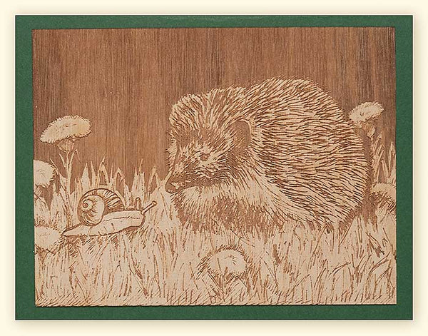 G521 Hedgehog and Snail Wood Veneer Card