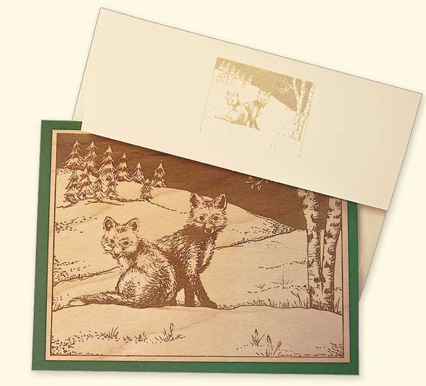 G520 Foxes Wood Veneer Card with envelope
