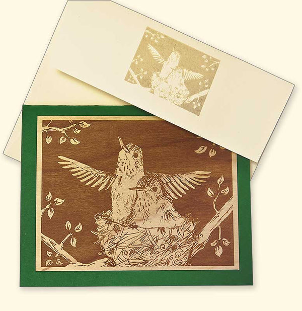G522 Hummingbirds Wood Veneer Card