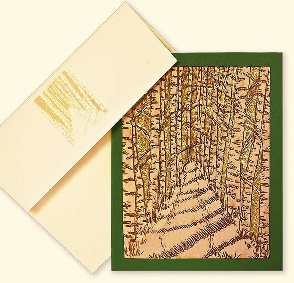 G523 Birc Forest Path Wood Veneer Card
