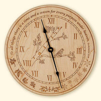 L191 Clock with Branch and Bird, Plain Wood