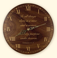 L114 Round Black Walnut Laser Engraved Clock