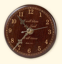 L114 Round Black Walnut Laser Engraved Clock Desk Size