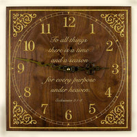Square Black Walnut and Gold Fill Clock with Choice of Inscriptions