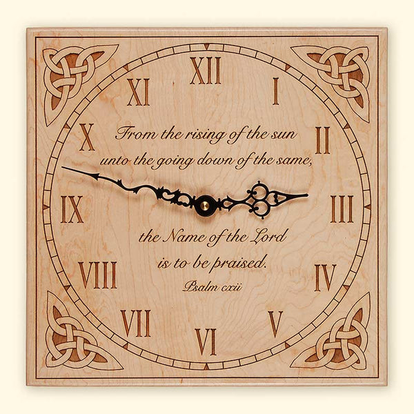 Celtic Design Maple Clock with Choice of Inscriptions