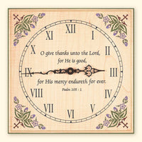 L249 Maple Clock with Cross and Leaf Design