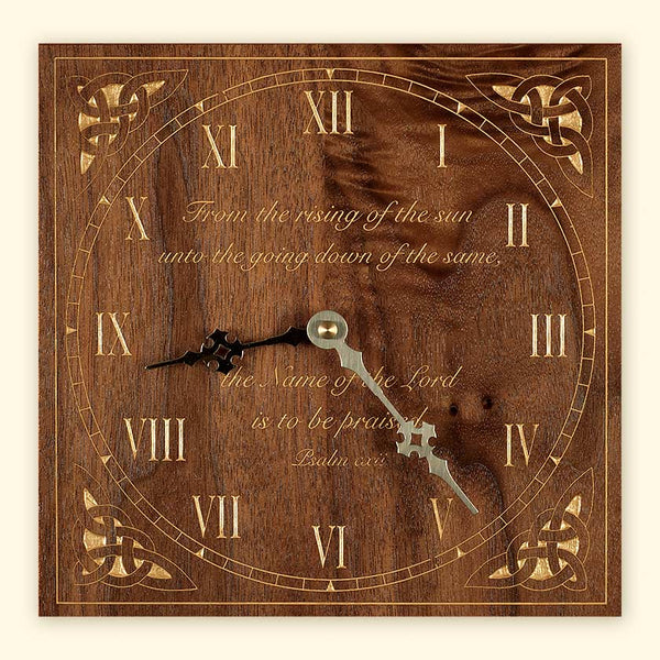 L251 Black Walnut Laser Engraved Clock with Celtic Design