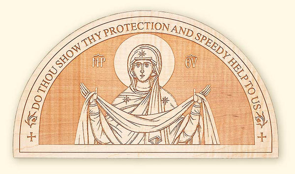 L254Mother of God Semi-circular Laser Engraved Icon