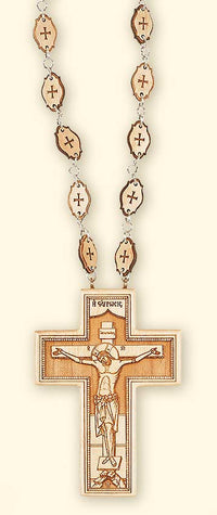 L261 Double sided pectoral cross with wooden chain, front