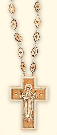 L261 Double sided pectoral cross with wooden chain, back