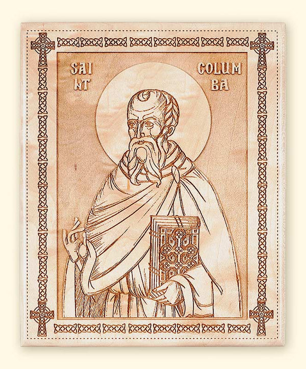 L257 St. Columba of Iona Laser-engraved Icon