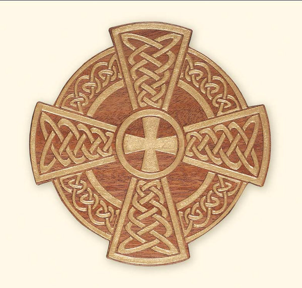 L267 MaL267 Mahogany Laser Engraved Celtic Cross Plaque