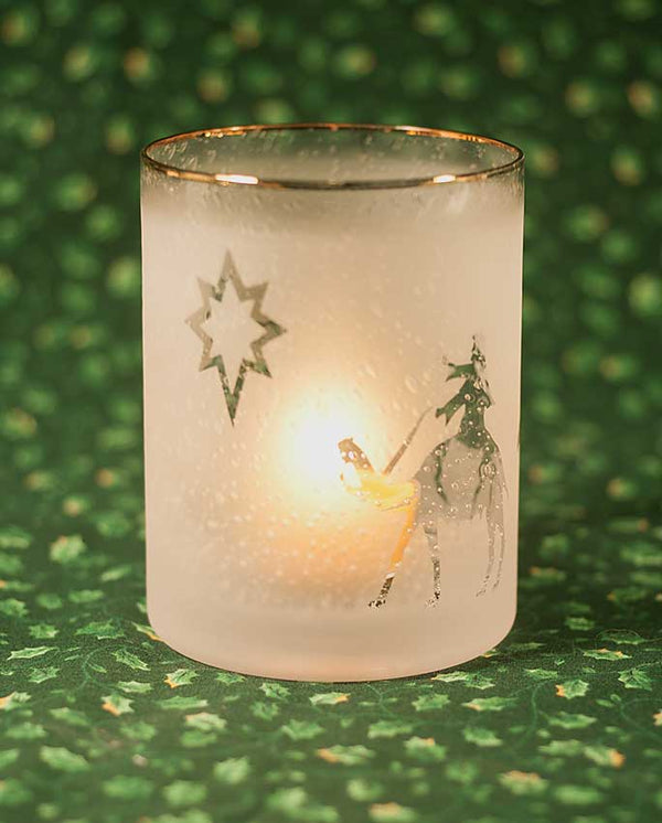 L304 Magi and Star Sand-carved glass tealight holder