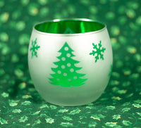 Frosted Glass Christmas Tealight Holder with Green Tree Design--Box of 2
