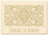 Cross and Grapevine Laser Engraved Pascha Card, Cream