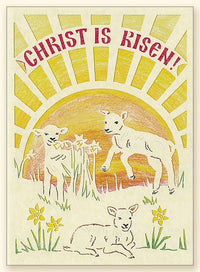 G131 Christ is Risen and Lambs Laser-cut Pascha card