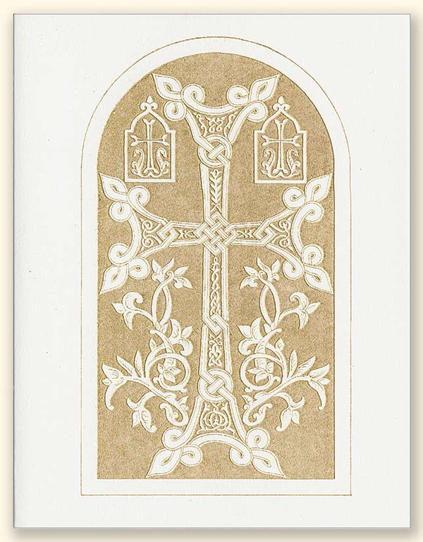 G352 Armenian Cross Laser Engraved Card Two, White paper
