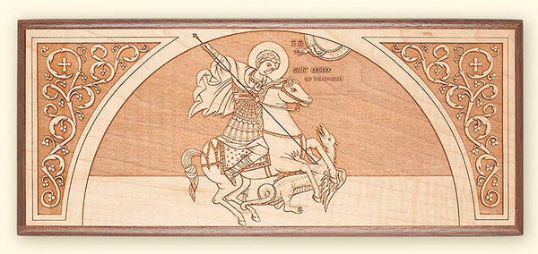 St. George on a Horse Laser-engraved Icon