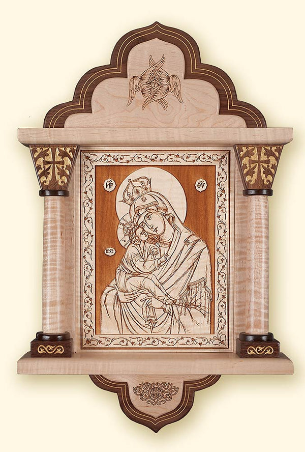 Pochaev Mother of God Laser Engraved Icon in Shrine