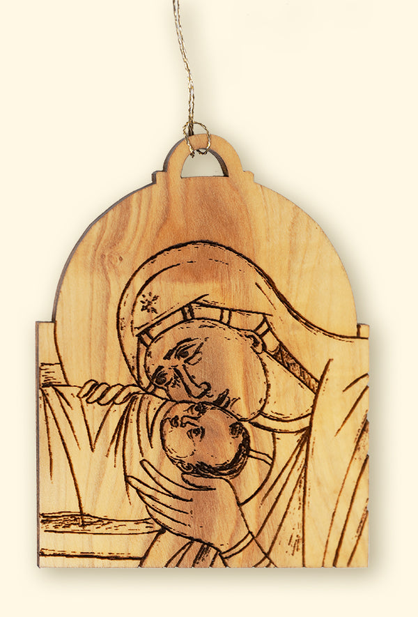 Olivewood Nativity Icon Ornament