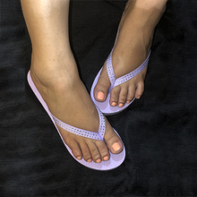 Load image into Gallery viewer, Lavender PawMat Flip Flops with Rhinestones