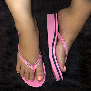 Pretty in Pink PawMat Flip Flops with Rhinestones