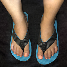 Load image into Gallery viewer, Unisex Ocean Blue PawMat Flip Flops with Black Straps