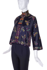Vintage Chinoiserie Silk Jacket with Exquisite Butterfly Embroidery Circa 1930's