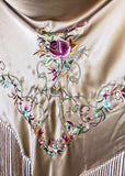 John Galliano Embroidered Floral Shawl with Fringe