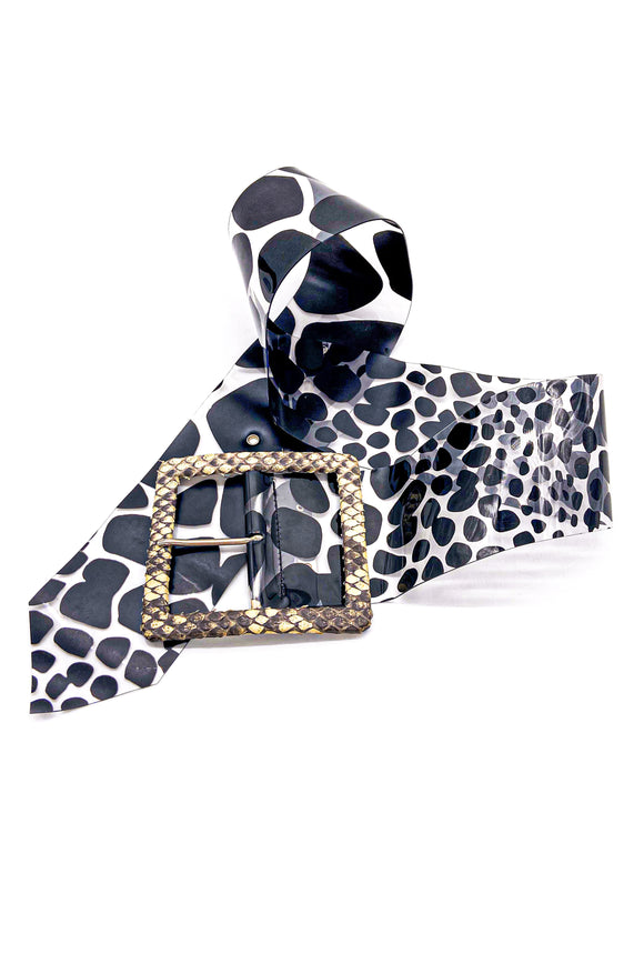 Alessandro Dell'Acqua Wide PVC Animal Print Belt