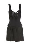 "Alexander McQueen Black Velveteen Bustier Fit and Flare ""Milk Maid"" dress with Silver Grommet and Satin Bow detail"