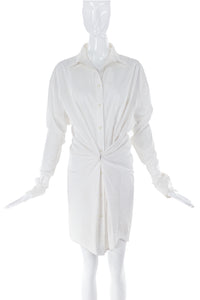 Ann-Sofie Back Oversize White Button-Up Shirt Dress