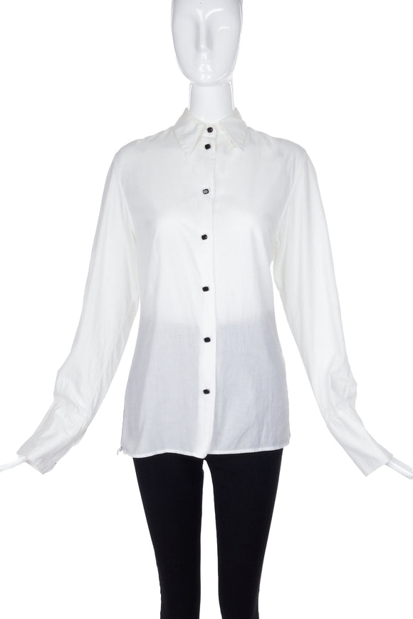 Ann Demeulemeester White Cotton Button-Up Shirt with Black Glass Buttons