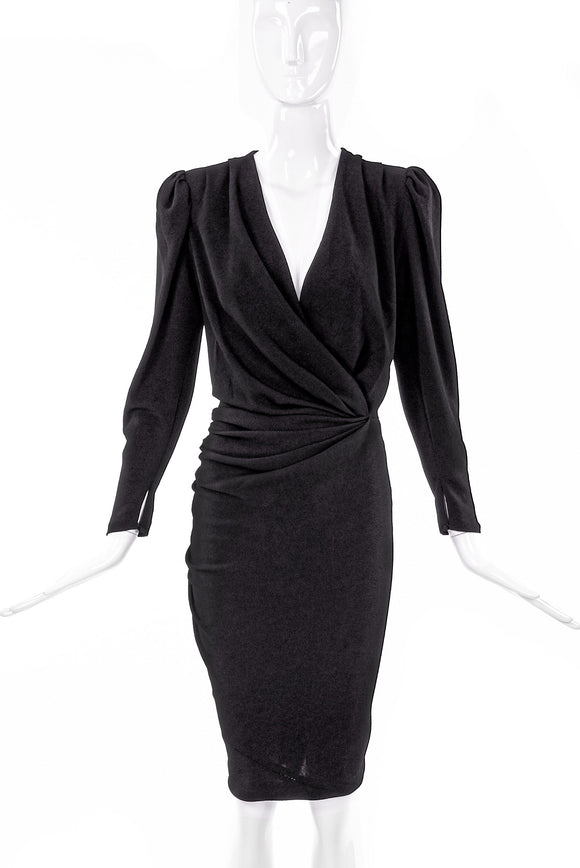 Balenciaga Black Silk Crepe Dress with Waist Ruche Details
