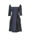 Balenciaga Black Square Neckline Front Square Pleat Dress