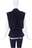 Balenciaga Black Oversize Draped Neckline Blouse with White Camisole