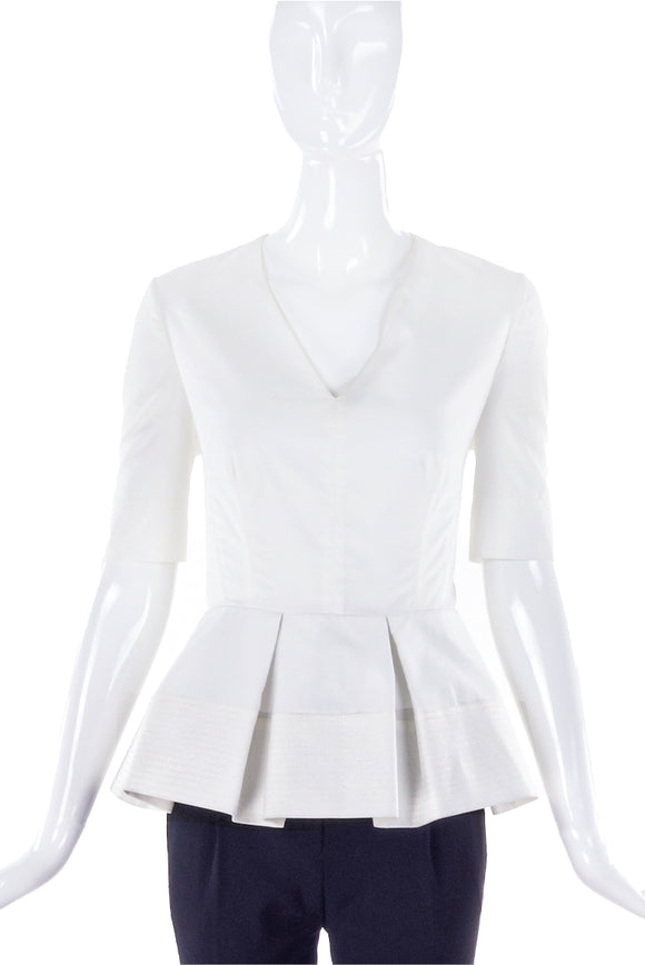 Balenciaga White Peplum Ballerina Top Resort 2016 - BOUTIQUE PURCHASE PRICE