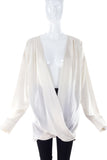 Balmain Ivory Silk Draped Wrap Blouse