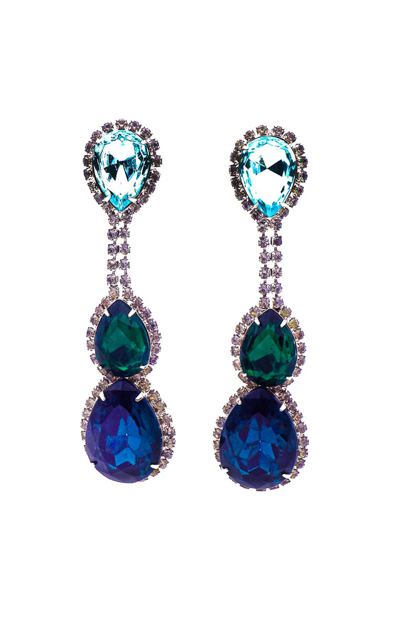 Balmain Aquamarine, Emerald and Sapphire Teardrop Earrings