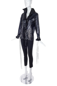 "Boudicca Black Shine ""Trashbag"" Blouse with Pleated Detachable Cuffs FW2005"
