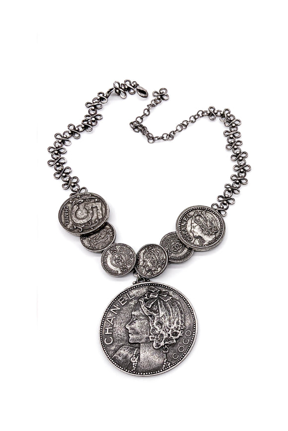 Chanel Gunmetal Coin Necklace SS2003
