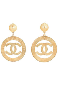 Chanel Gold Hoop Logo Earrings