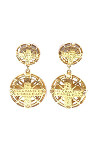 Chanel Cross Cage with Logo Statement  Earrings - BOUTIQUE PURCHASE PRICE