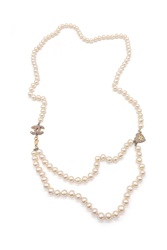 Chanel Pearl Necklace with CC and Heart Charm SS2002
