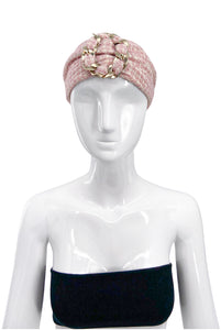 Chanel Pink Tweed Headband with Chain Link Detail