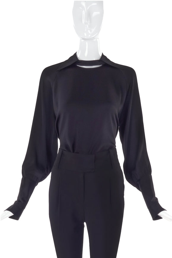 Chloé Black Silk Blouse with Cut-Out Detail