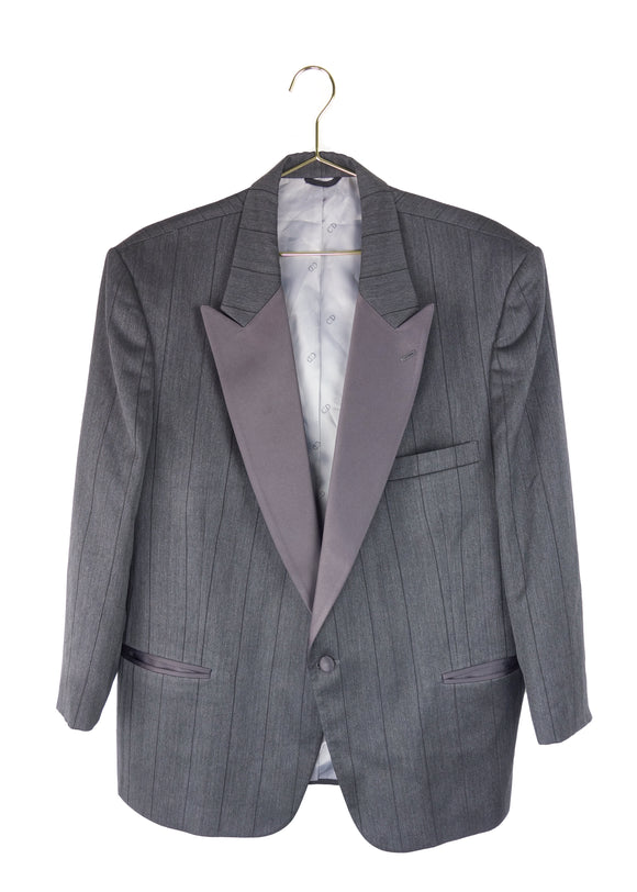 Christian Dior Monsieur Gray Pinstripe Satin Lapel Blazer