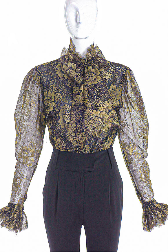 Jean Louis Scherrer Gold Lace Bow Blouse